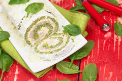 Free Spinach Roll With Cheese And Ham Stock Image - 37182081