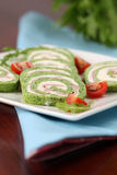 Spinach rolls with garlic cheese and ham Stock Photography