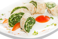 Spinach Rolls. With Parmesan and Mozzarella stock image