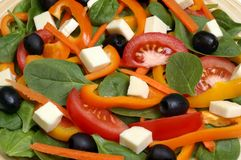 Spinach salad. Detail of a fresh spinach salad with carrots, bell peppers, black olives, tomatoes, and cheese chunks royalty free stock photo