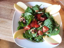 Spinach Salad with Apples Royalty Free Stock Image