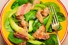 Spinach salad with bacon Royalty Free Stock Images