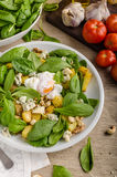 Spinach salad with egg benedict Royalty Free Stock Photography