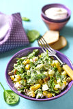 Spinach salad with sweet corn,boiled egg and fried bacon. Stock Image