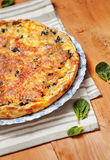 Spinach and Salmon Quiche. Homemade Spinach and Salmon Quiche Royalty Free Stock Photography