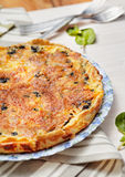 Spinach and Salmon Quiche. Homemade Spinach and Salmon Quiche Stock Image