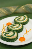 Spinach and salmon rolls Stock Image