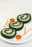Spinach and salmon rolls Stock Photography