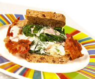Spinach sandwich Royalty Free Stock Image