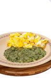 Spinach served on a plate with fried eggs Royalty Free Stock Photography