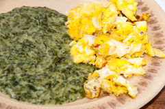 Spinach served on a plate with fried eggs Royalty Free Stock Photo