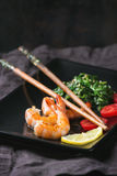 Spinach and shrimps Stock Image