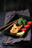 Spinach and shrimps Stock Photography