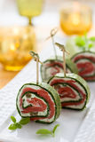 Spinach and Smoked Salmon Roll Royalty Free Stock Photos