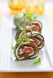 Spinach and Smoked Salmon Roll Stock Photo
