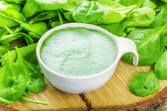 Spinach Smoothie in white bowl with spinach around Royalty Free Stock Photo