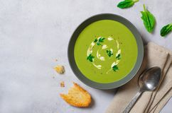 Spinach Soup in a Bowl, Top View, Vegetarian Food, Healthy Eating stock image