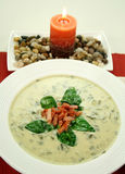 Spinach Soup With Candle Royalty Free Stock Photo
