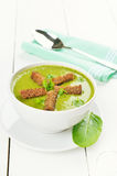Spinach soup with dried crusts Stock Photo