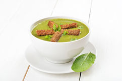 Spinach soup with dried crusts Royalty Free Stock Image