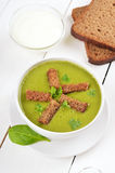 Spinach soup with dried crusts Royalty Free Stock Images