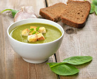Spinach soup with dried crusts Royalty Free Stock Photos
