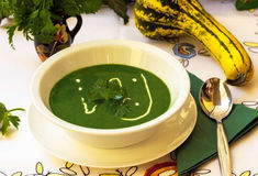 Spinach soup. Healthy spinach cream soup full of minerals and vitamins Royalty Free Stock Images