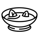 Spinach soup icon, outline style stock illustration