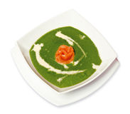 Spinach soup with salmon Stock Image