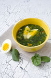 Spinach soup. Traditional Spinach soup with egg and fresh spinach leaf on top Royalty Free Stock Image