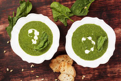 Spinach soup, vintage style. Royalty Free Stock Image