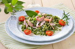 Spinach spaetzle Stock Photo