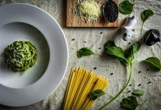 Spinach spaghetti stock photo