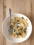 Spinach spaghetti pasta Stock Images
