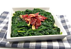 Spinach stew with ham Royalty Free Stock Images