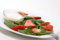 Spinach and strawberries salad Stock Photo