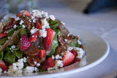 Spinach and strawberry salad Stock Image