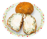 Spinach stuffed rice balls arancini on plate. Traditional sicilian street food - spinach and sauce stuffed rice balls arancini on plate isolated on white Royalty Free Stock Photo