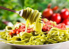 Spinach tagliatelle Royalty Free Stock Images