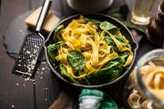 Spinach tagliatelle pasta Stock Photos