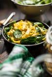 Spinach tagliatelle pasta Stock Image