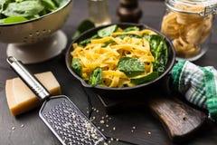 Spinach tagliatelle pasta Stock Images