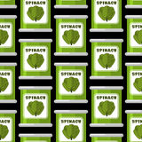 Spinach in tin seamless pattern. Useful greens ornament. Green l Stock Images