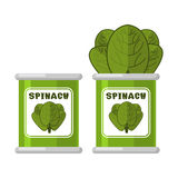 Spinach in tin. Useful Herbs. Green lettuce leaves. Dietary vege Royalty Free Stock Image