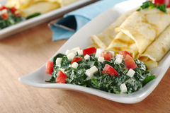 Spinach-Tomato-Cheese with Crepes Stock Photo