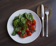 The spinach and tomatoes. The spinach and tomatoes on a white plate Royalty Free Stock Photos
