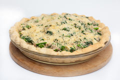 Spinach and tuna quiche lorraine ready to be baked Stock Photo