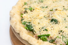 Spinach and tuna quiche lorraine ready to be baked Stock Images