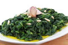 Spinach whit onion end garlic Stock Photography