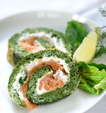 Spinache roulade with smoked salmon Stock Photography